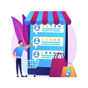 Avaliação e feedback do usuário. cliente revisa o ícone da web dos desenhos animados. comércio eletrônico, compras online, compras pela internet. métricas de confiança, produto com melhor classificação