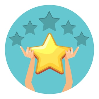 Avaliação em estrelas douradas brilhantes para os serviços oferecidos. grau de forma universal. os braços humanos dão estimativa isolada dos desenhos animados em círculo.