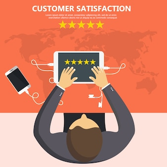 Avaliação na ilustração de serviço ao cliente.