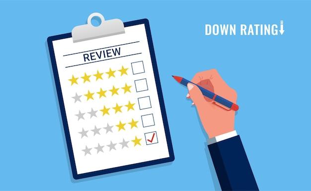 Avaliação negativa ou conceito de feedback, preenchimento manual com 1 estrela, avaliação de atendimento ao cliente