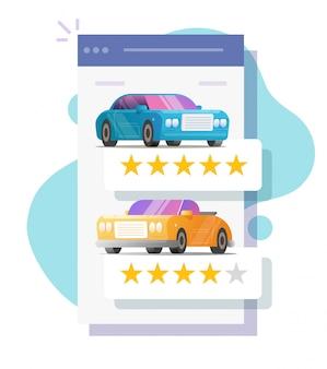 Avaliação on-line de revisão de carros como aluguel de feedback da loja na tela da web móvel