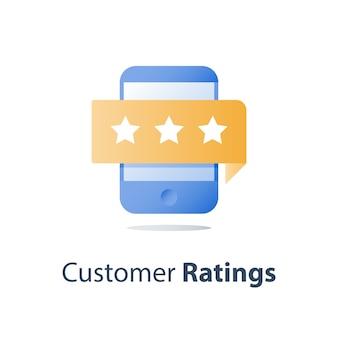 Avaliação online, smartphone e estrelas de avaliação