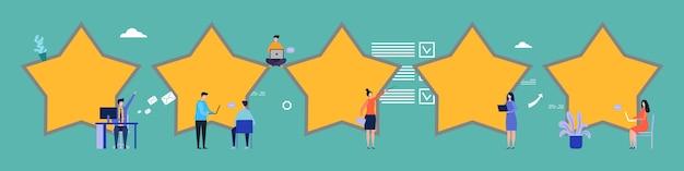 Avaliações de clientes. feedback, ilustração plana de cinco estrelas. avaliação, pessoas pequenas e planas escrevem comentários. serviço de avaliação de classificação, feedback do cliente