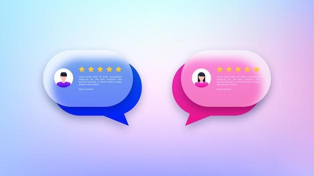 Avaliações de usuários e balões de fala de feedback