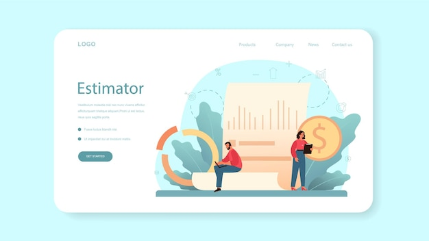Avaliador, banner da web de consultor financeiro ou página de destino