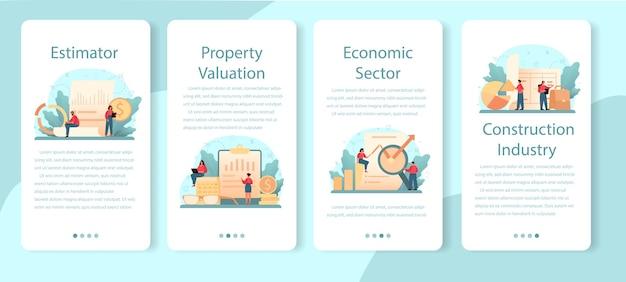 Avaliador, consultor financeiro conjunto de banner de aplicativo móvel