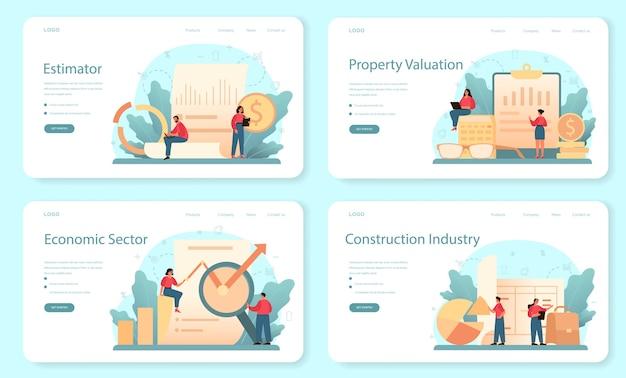 Avaliador, modelo da web de consultor financeiro ou conjunto de páginas de destino.