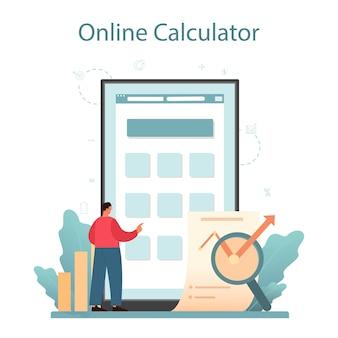 Avaliador, serviço ou plataforma online de consultor financeiro.