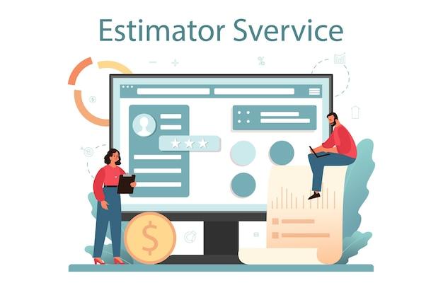 Avaliador, serviço ou plataforma online de consultor financeiro