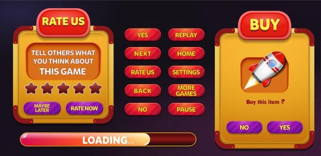 Avalie-nos e compre menu pop-up tela com estrelas e botão