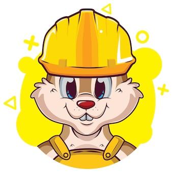 Avatar bonito esquilo com capacete
