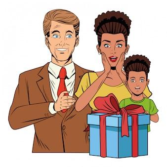 Avatar da família com caixa de presente