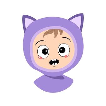 Avatar de criança com emoções, pânico, surpresa, rosto, olhos chocados, em, gato, chapéu, criança, fofo, com, medo, expr ...