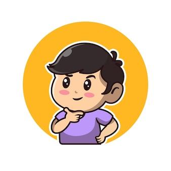 Avatar de desenho animado de menino fofo pensando