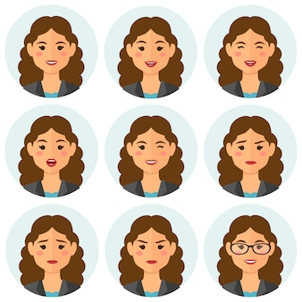 Avatar de expressões de mulher de negócios
