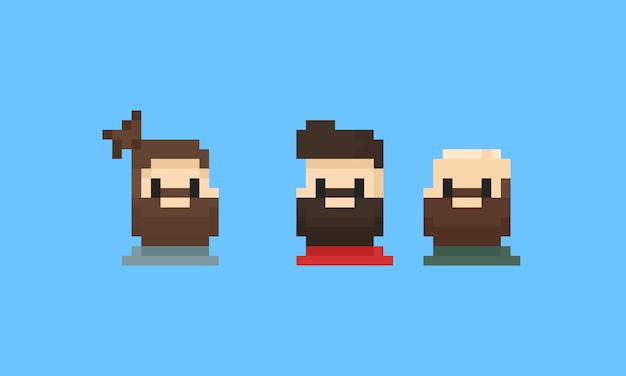 Avatar de homem barbudo de pixel