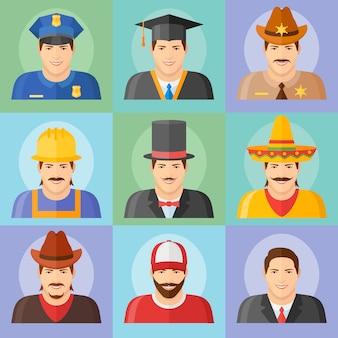 Avatar de homem em diferentes roupas e chapéus. conjunto de pessoas de diferentes profissões em estilo simples.