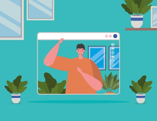 Avatar de homem no site em chat por vídeo e plantas dentro de vasos