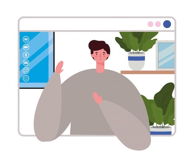 Avatar de homem no site em design de chat por vídeo