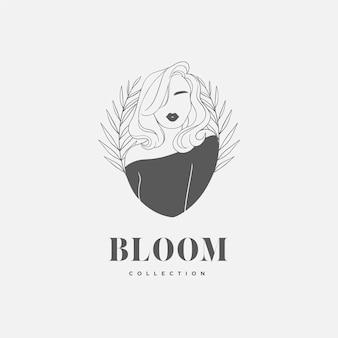 Avatar de logotipo feminino desenhado à mão