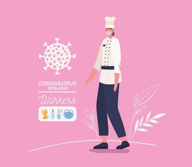 Avatar de mulher chef com máscara médica e uniforme