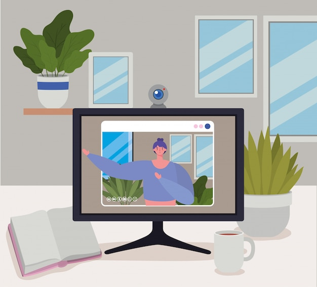 Avatar de mulher no computador no chat por vídeo