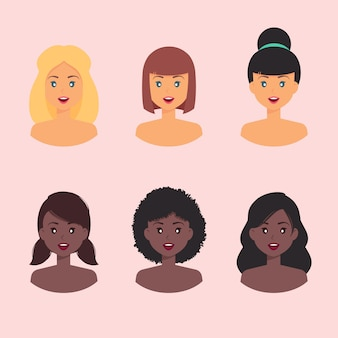 Avatar de perfil feminino com diferentes cores de pele e penteado