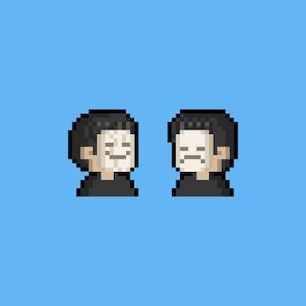 Avatar de pessoas dos desenhos animados de pixel art usando máscara de emoção.
