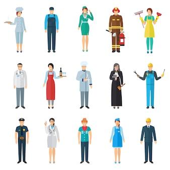 Avatar de profissão e emprego com conjunto de ícones de pessoas em pé