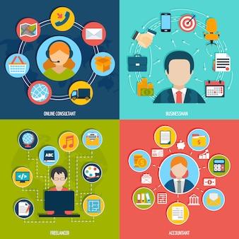 Avatar de profissões com conjunto de plana de composição de elementos