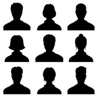 Avatar de silhuetas de cabeça masculino e feminino, ícones de vetor de perfil, retratos de pessoas