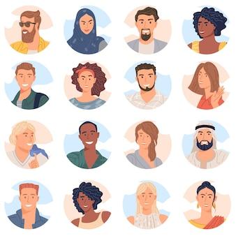 Avatar de várias pessoas da coleção de vetores de design plano de equipe de negócios diversificada