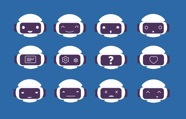 Avatar do robô. símbolos on-line de emoções de chatbot no personagem de vetor de rosto de tela de robô. rosto de robô, bate-papo de máquina de computador, ilustração digital de assistência ai