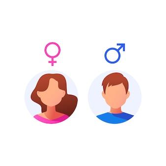 Avatar do usuário. rosto masculino e feminino