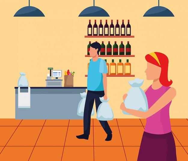 Avatar homem e mulher com sacos andando no supermercado