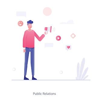 Avatar masculino segurando projeto de ilustração plana de megafone de relações públicas