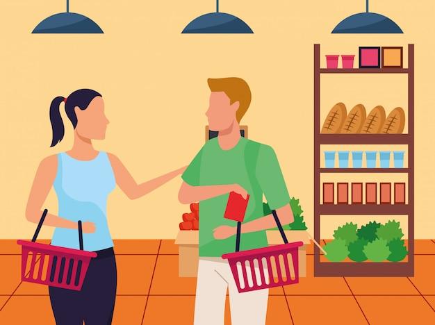 Avatar mulher e homem no supermercado fica com compras, design colorido