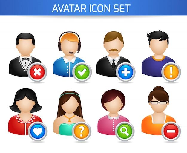Avatar redes sociais conjunto de fóruns perfil dos usuários com opções isoladas na ilustração vetorial branca
