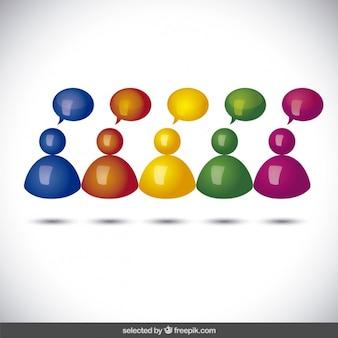 Avatares 3d com balões de fala