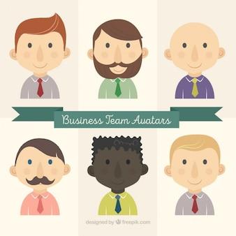 Avatares agradável empresários desenhados mão