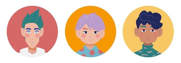 Avatares brilhantes para rapazes em estilo simples