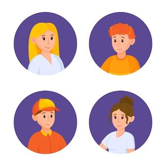 Avatares circulares com rostos de jovens ilustração em vetor de avatares