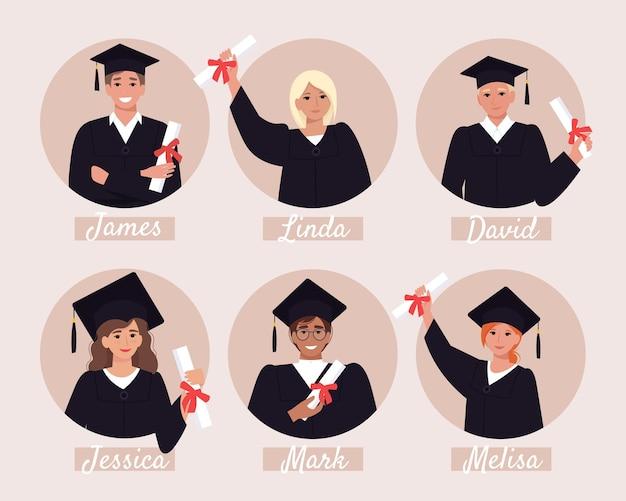 Avatares de alunos de graduação, álbum de formatura. jovens felizes em argamassa e vestido de solteiro com diploma. ilustração em estilo simples