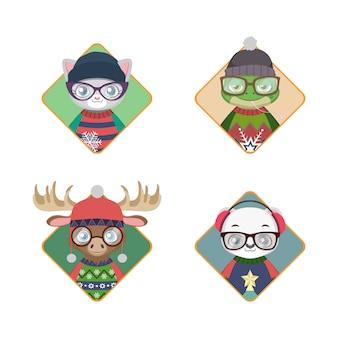 Avatares de animais hipster em camisolas de natal feias