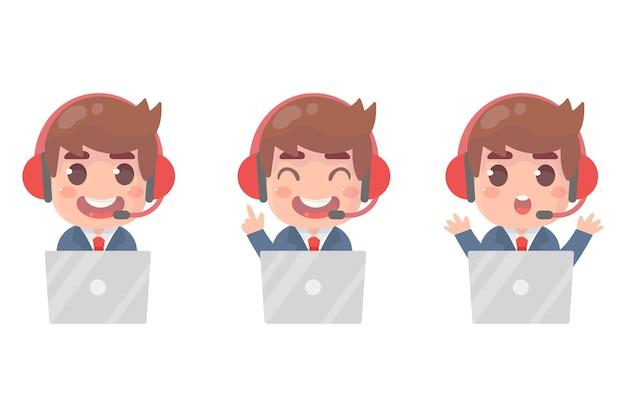 Avatares de call center atendimento ao cliente