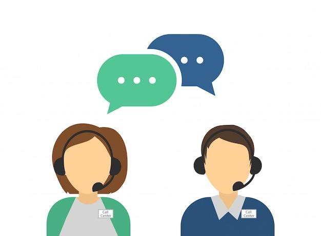 Avatares de call center masculino e feminino. atendimento ao cliente.