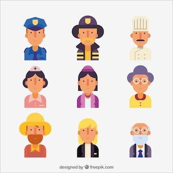 Avatares de diferentes profissões com design plano