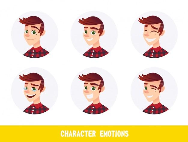 Avatares de emoções de personagem cartoon flat.