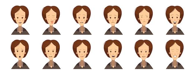 Avatares de emoções femininas definir o estilo dos desenhos animados