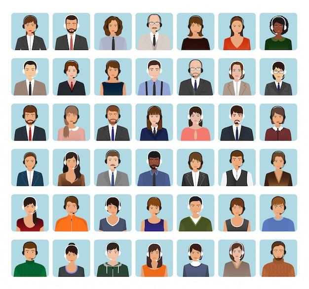 Avatares de funcionário de call center conjunto com fone de ouvido. ícones de caracteres de serviço de suporte de rostos.